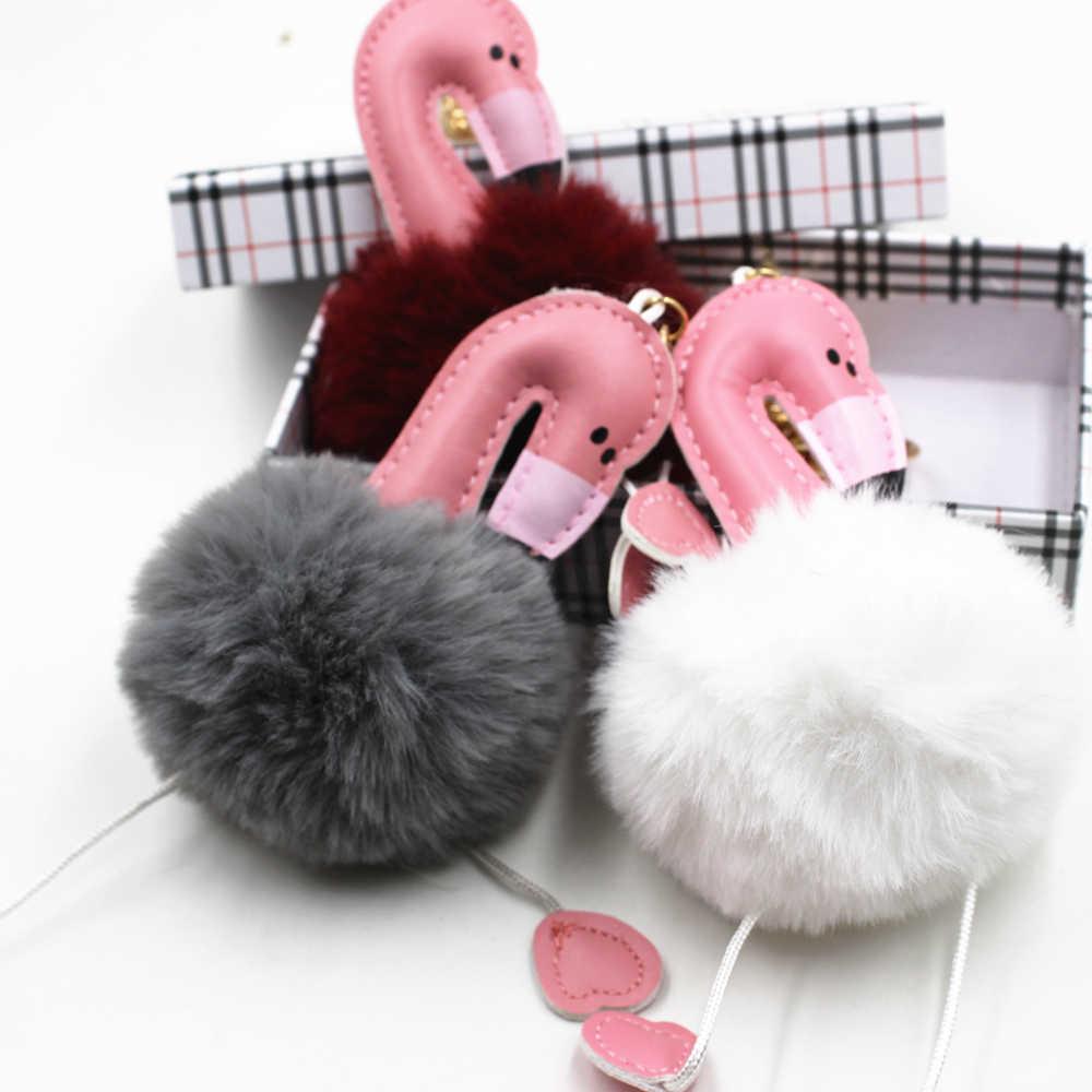 Новый милый брелок с помпоном, брелок для ключей с фламинго, пушистый искусственный кроличий мех, женская сумка для автомобиля, брелок для ключей с помпоном, pom, держатель для ювелирных изделий