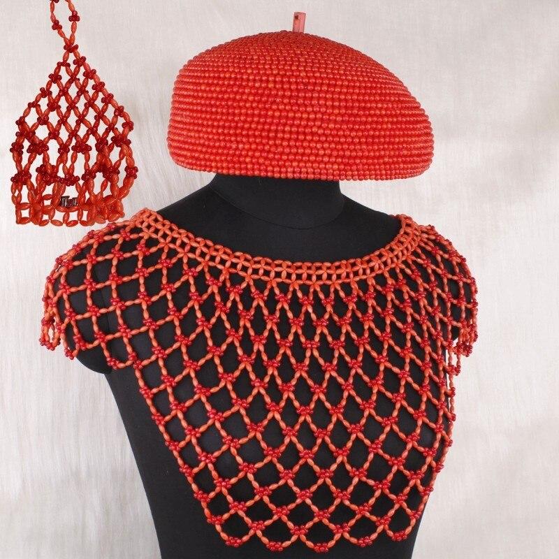 4 ubijoux Edo nuptiale Nature corail perles ensemble de bijoux 3 pièces chapeau châle/blouse gants mariage bijoux ensemble pour mariée femmes 2019 nouveau