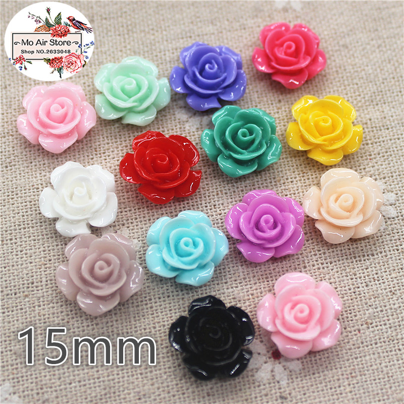 50pcs 15mm Mixed Color Flower Camellia Resin Flatback Cabochon DIY Jewelry/phone Decoration No Hole