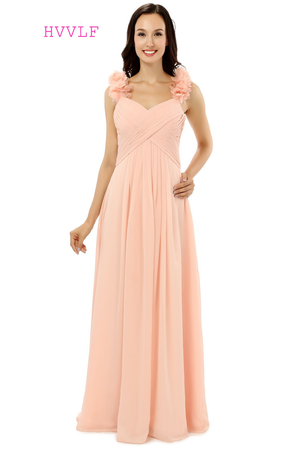 Peach 2018 Cheap Bridesmaid Dresses Under 50 A-line Spaghetti Straps ...