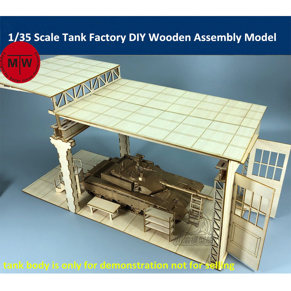 1/35 Scale Tank Factory Garage Repair Shop Tank Scene Diorama DIY Wooden Assembly Model Kit