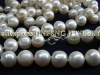 32 Long 10mm Natural Cultured Freshwater Pearl Necklace Silver Clasp Free Shipping