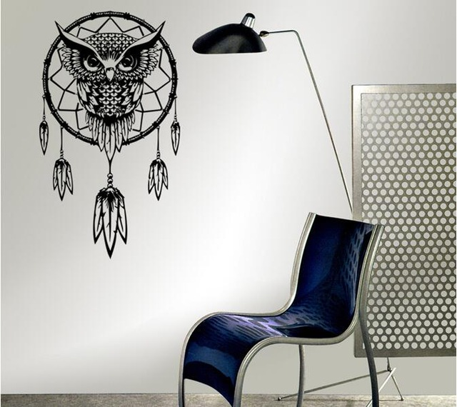 dreamcatcher wall stickers indian religion owl totem feathers symbol