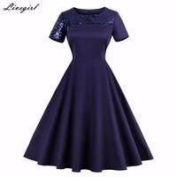 Summer Women Vintage Dress Patchwork Retro Robe O Neck Short Sleeve Audrey Hepburn 50s Dresses Plus