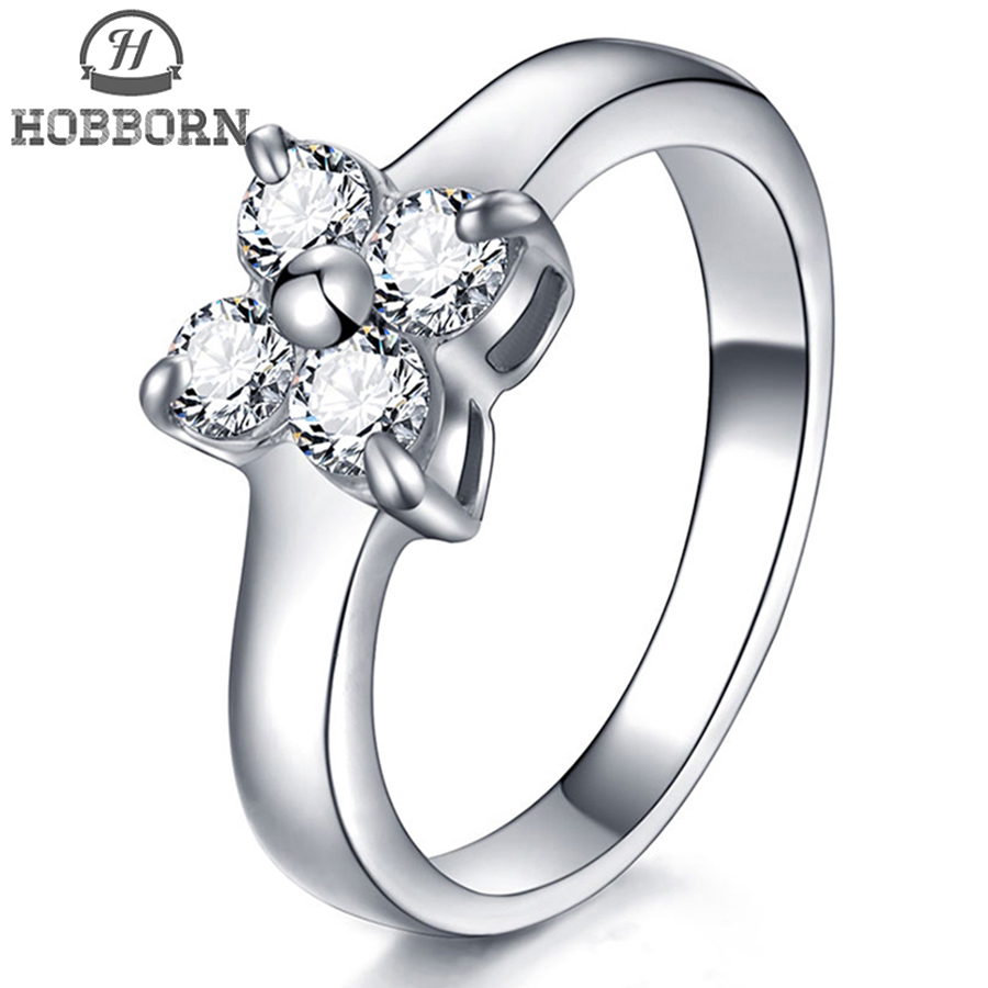 HOBBORN Fashion Cubic Zirconia Ring Titanium Steel Cross Rings for Women 4 Petal Crystal Wedding Famous Brands Finger Jewelry