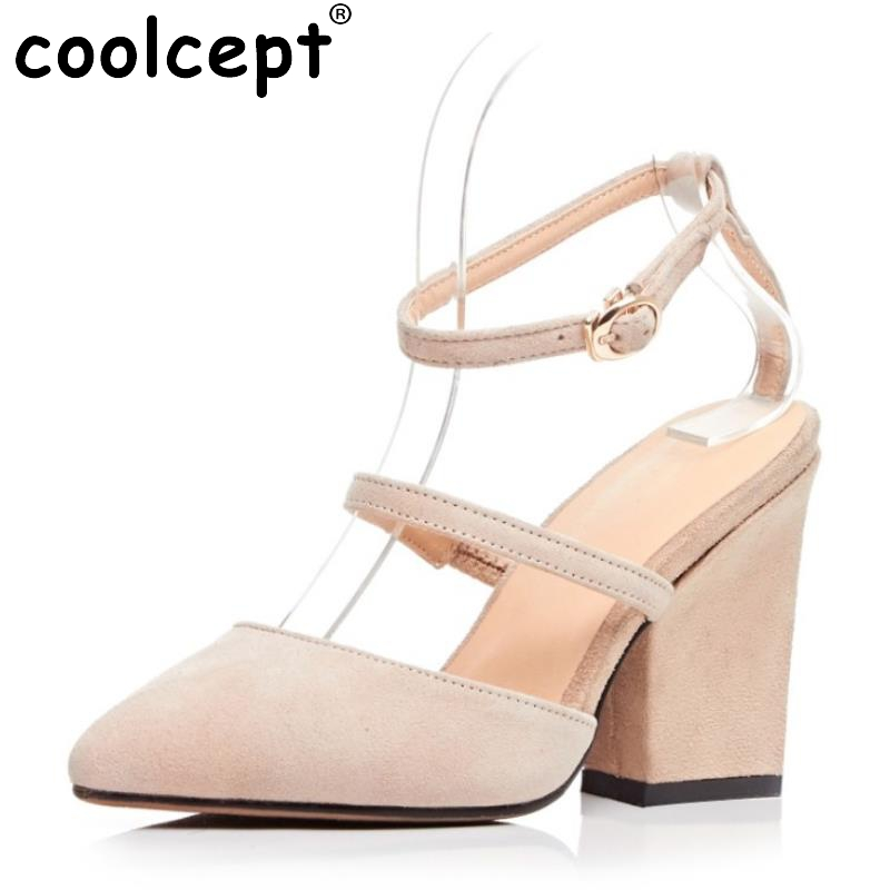 ФОТО Female Genuine Leather High Heeled Sandals Cross Strap Pointed Toe Thick Heels Sandal Fashion Sexy Party Footwears Size 34-39