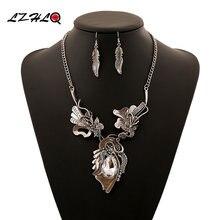 Lzhlq этнический винтажный цветочный букет чокер массивное ожерелье