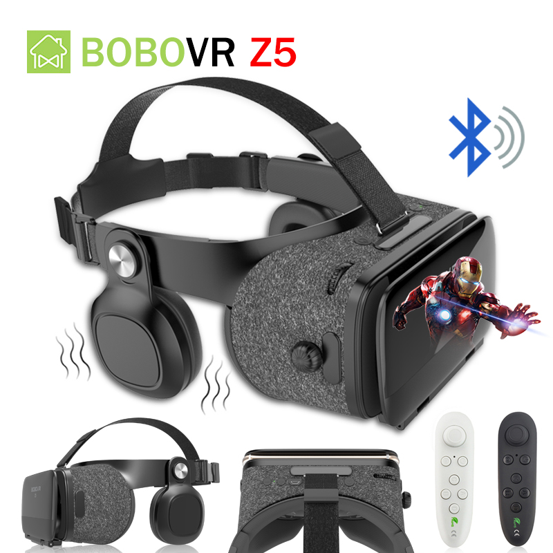 BOBOVR Z5 Headphones Bluetooth VR 3D Glasses 120 FOV Virtual Reality Box Helmet Stereo Headset With Bluetooth Remote Controller стоимость