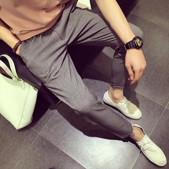 Venda quente de primavera e outono Dos Homens calças de Algodão de linho linho inferior reta calça casual calças de Lazer dos homens
