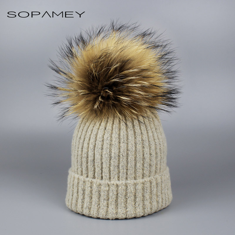 Children Knitted Real Fur Hat 100% Real Raccoon Fur Pom Pom Hats Winter Boy girl Cap beanie for Child 2-6 years old mengpipi women children cotton knitted hats winter warm raccoon fur hat cap gorros de lana touca casquette cappelli bonnets