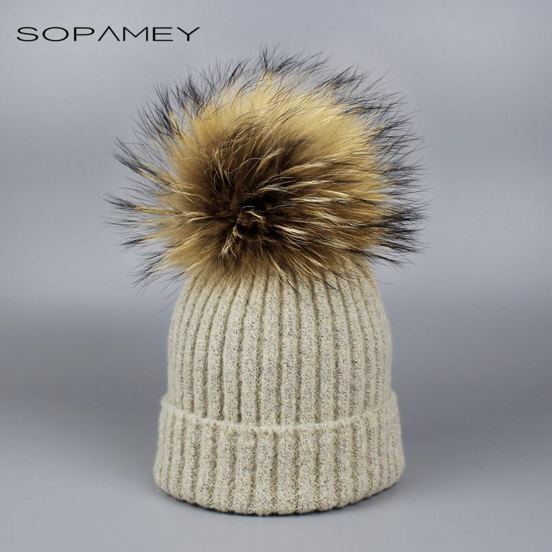 купить Children Knitted Real Fur Hat 100% Real Raccoon Fur Pom Pom Hats Winter Boy girl Cap beanie for Child 2-6 years old дешево
