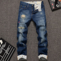 Hot Sales Fashion Men Jeans Long Trousers Youth High Quality Pants Pockets Pattern Slim Pocket Stright  Zippers Hole Jeans New