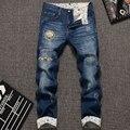 Hot Vendas Moda Masculina Calças Jeans Calças Compridas Juventude de Alta Qualidade Bolso Bolsos Padrão Fino Stright Zippers Buraco Calça Jeans Nova