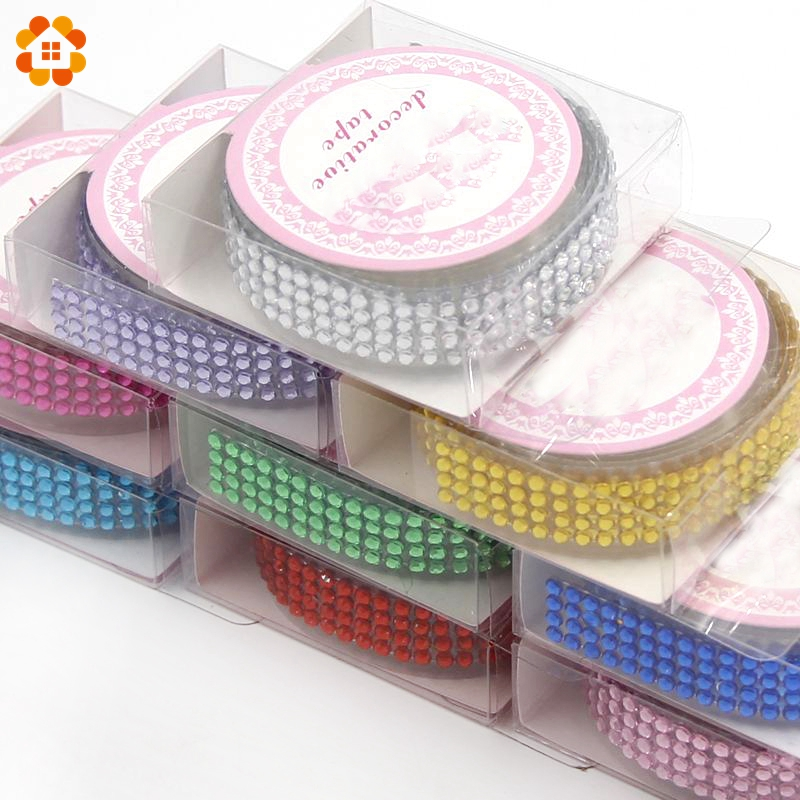 1PCS 10 Colors Length 50CM Acrylic Rhinestone Self-Adhesive Stick On Tape DIY Stickers For Crystal  Scrapbooking Decoration