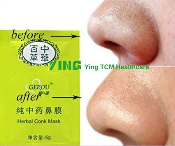 100pcs/lot Nose pore MASK / facial purifying peel-off Herbal conk mask / Clean Blackhead remover face mask skin care