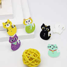 New Arrival 22*30mm 50pcs Mixed Color Random Cat Wooden Buttons Two Holes Sewing Craft Scrapbooking Garment Accessories 50pcs mixed color snails wooden buttons for craft clothing decorative diy scrapbooking buttons sewing accessories