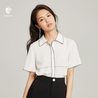FANSILANEN New Arrival Fashion Summer/Spring Office Women Befree Tops Blouse Shirts Blouses Solid Chiffon Female Z82436