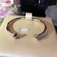 Hot Brand Titanium steel Jewelry For Women Rotate Ball Bangle Bead Bangle Wedding Jewelry Open Rose Gold Bracelet