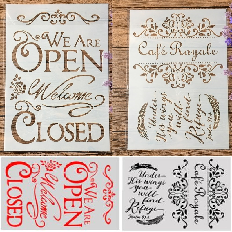 2Pcs/Lot A4 Open Closed Cafe Royale DIY Craft Layering Stencils Painting Scrapbooking Stamping Embossing Album Paper Template
