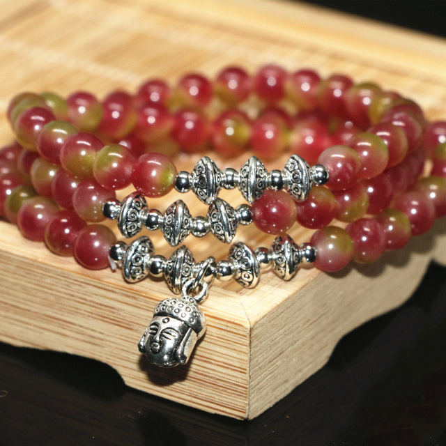 New fashion 6mm round jade multilayer long strand bracelets multicolor beads buddha pendant elegant factory outlet jewelry B2200