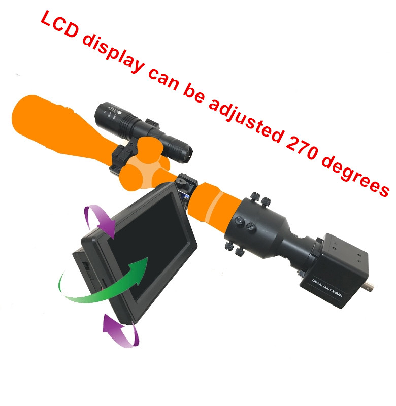 Brightness adjustable Rifle Scope Add On DIY Night Vision Scope with 4 3 inch LCD Screen