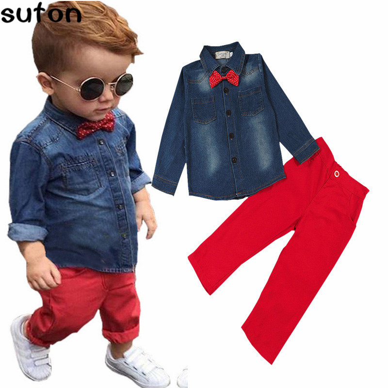 2018 Spring Fashion Casual Childrens Clothing Set Baby Boys Clothes Cotton Denim Long Sleeve Shirts+Red Pants Kids Clothes 3-8Y