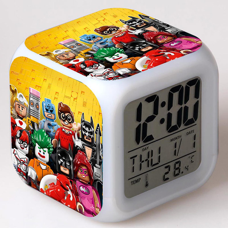 Game Figurine Batman LED Alarm Clock Colorful Touch Light Desk Decoration Anime Action Figures Toys for Children