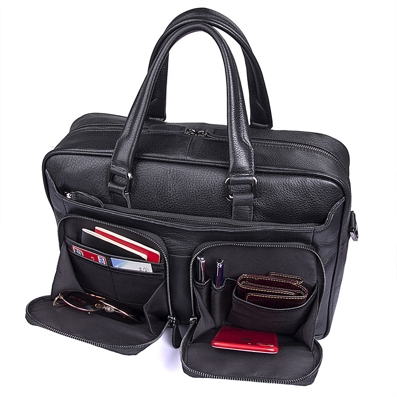 Nesitu Black Office Genuine Leather Men Briefcase Messenger Bags Male Business Travel Bag 14'' Laptop Portfolio Handbag M7373