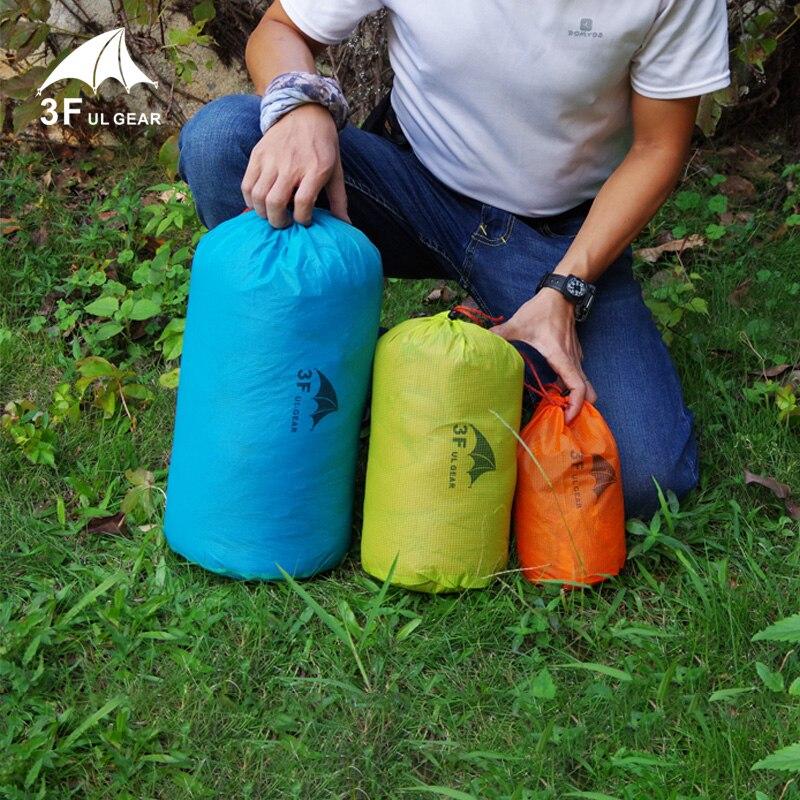 3F UL Gear S/M/L 210T Polyester Taffeta Tent Fabric Ultralight Versatile Waterproof  Drawstring Sack Bucket Tent Pegs Bag