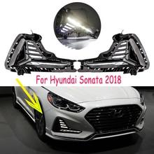 สำหรับ Hyundai Sonata หมอก 2018 2019 LED DRL ไฟหน้าหมอกไฟวิ่งกลางวันไฟหมอกโคมไฟฝาครอบไฟหน้าหมอก LIGHT