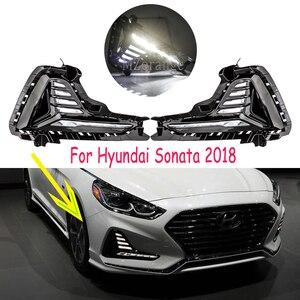 Image 1 - สำหรับ Hyundai Sonata หมอก 2018 2019 LED DRL ไฟหน้าหมอกไฟวิ่งกลางวันไฟหมอกโคมไฟฝาครอบไฟหน้าหมอก LIGHT