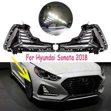 Hyundai Sonata için sis lambası 2018 2019 LED DRL far sis farları gündüz farları sis lambaları farlar sis işık