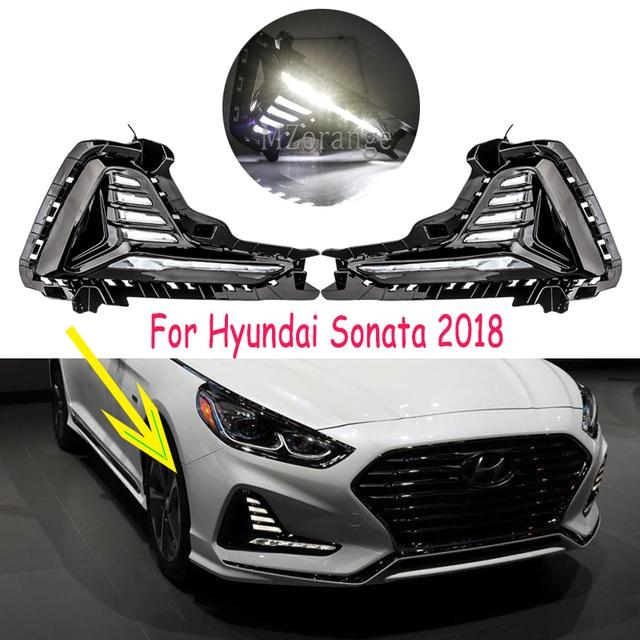 for Hyundai Sonata fog light 2018 2019 LED DRL headlight fog lights Daytime Running Lights Fog Lamps cover headlights fog light