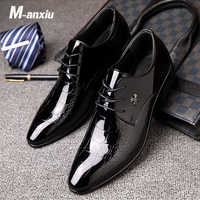 M-anxiu Men Dress PU Leather Shoes Slip On Fashion Male Formal Oxford Lace Up Shoes Flat Pointed Toe Casual Business Shoes
