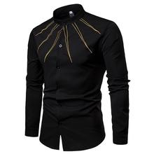 Mens Shirt Unique Golden design Blouse Mens clothing Slim fit New model Shirts Stand collar White Black Fashion 2019 new model shirts stand collar white black camisa social mens shirt unique golden design blouse mens clothing slim fit