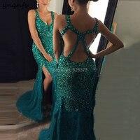 YNQNFS ED199 Vestido de Festa Longo de luxo Cross Back Elegant Crystal Dress Front Open High Slit Bridesmaid Dresses Teal 2019