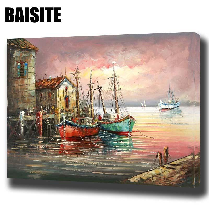 BAISITE DIY keretes olajfestmény számok szerint tájkép képek vászonfestés nappali falra művészet lakberendezés E729