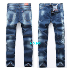 High Quality Men's Jeans new brand Slim stretch jeans men Casual straight hole jeans men denim trousers ripped jeans