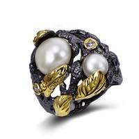 Luruxy big black Ring cubic zircon & fresh water pearl Rings fashion women jewelry High quality Free shipment