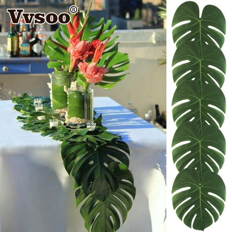 Vvsoo 24Pcs 35x29cm&20x18cm Artificial Tropical Palm Leaves Simulation Leaf Hawaiian Luau Party Jungle Beach Theme Home Decor