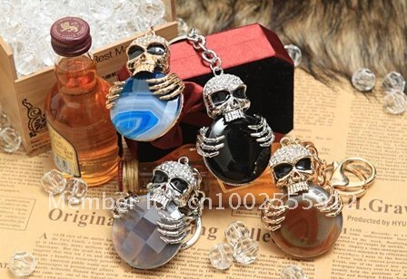 ~Free shipping~ Wholesale 6pcs/lot Spider Skeleton shaped crystal metal alloy Christmas gift jewelry keychain charm