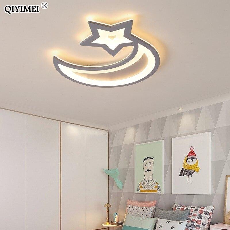 Gris Led lustres lumières pour chambre d'enfant chambre nouvelle acrylique lune étoile fer corps moderne télécommande lampe luminaire
