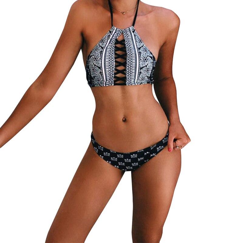 b98e360481f63 Sexy Brazilian Bikini Halter Cuello Alto Tanque de Tiras Negro traje de Baño  Cintura baja Bikinis Push Up 2016 Traje de Baño para Las Mujeres Y1626 en  ...