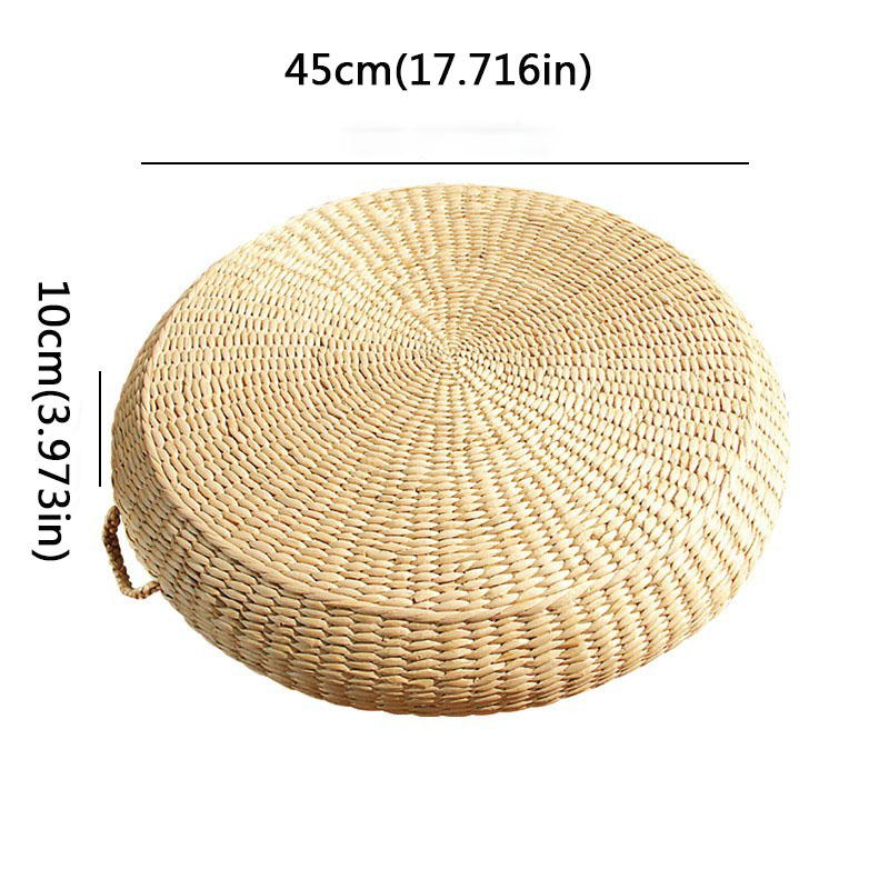 HOT SALE Tatami Cushion Round Straw Weave Handmade Pillow Floor Japanese Style Yoga Chair Sofa Adult Child Home Seat Mat 40/45cm - Цвет: 45X10primary color
