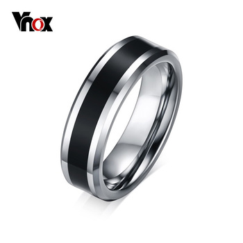 Vnox Men's Tungsten Wedding Bands Ring Thin Black Line Engagement Ring USA  Male Jewelry 6MM Wide