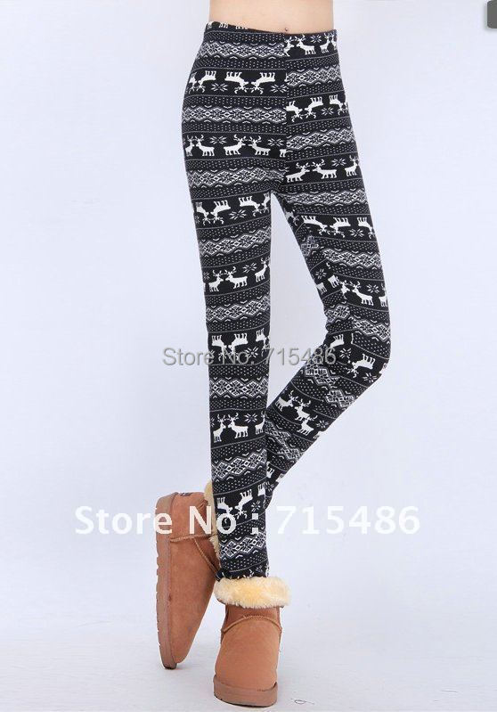 Thick Women Leggings Colorful Women's Elk Snow Leggings Lady Cotton Free Shipping Ladie's Warm Winter Leggings