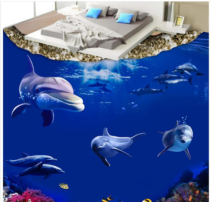 3d floor murals custom wall paper rolls 3d floor Ocean World Dolphins vinyl bathroom wallpaper 3d floor wallpaper