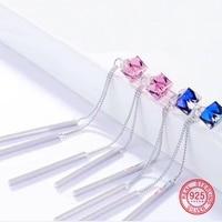 2019 New 2 in 1 Anti allergic 925 sterling silver drop earrings Removable Tassel dangle earrings Crystals CARA0201