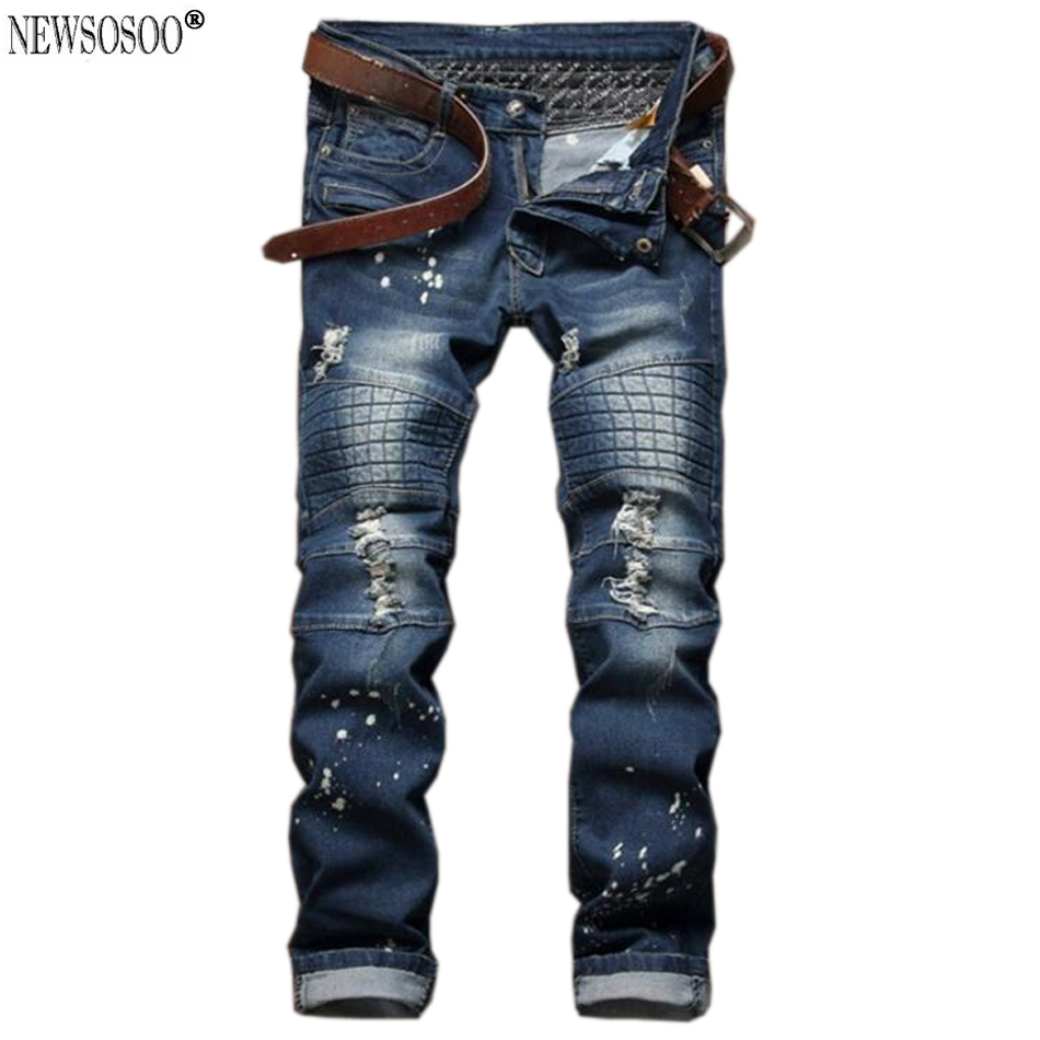 Newsosoo men's fashion hole biker jeans 2017 hi-street Patchwork slim fit straight washed robin jeans for men MJ78 цены онлайн