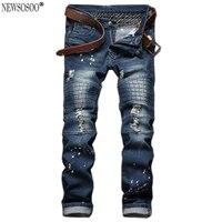 Newsosoo men's fashion hole biker jeans 2017 hi-street Patchwork slim fit straight washed robin jeans for men MJ78